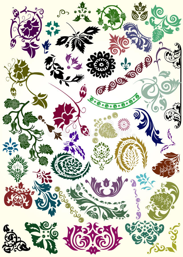 Color Flower Elements Collection Royalty Free Stock Photography