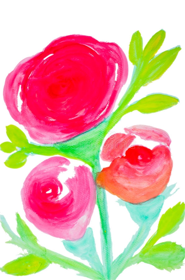 Color flowers in watercolor royalty free stock photo