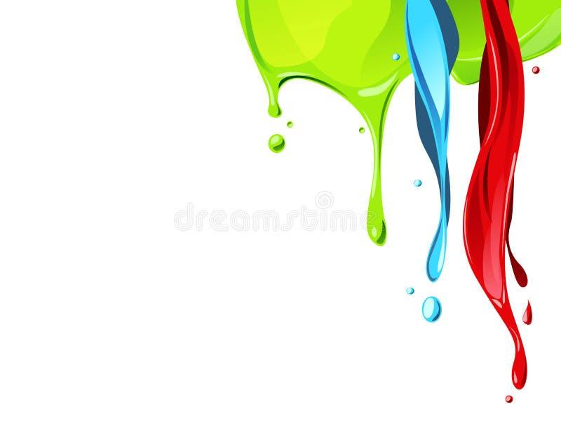 Color fluid flow. Red , blue, green color fluid flow from above stock illustration