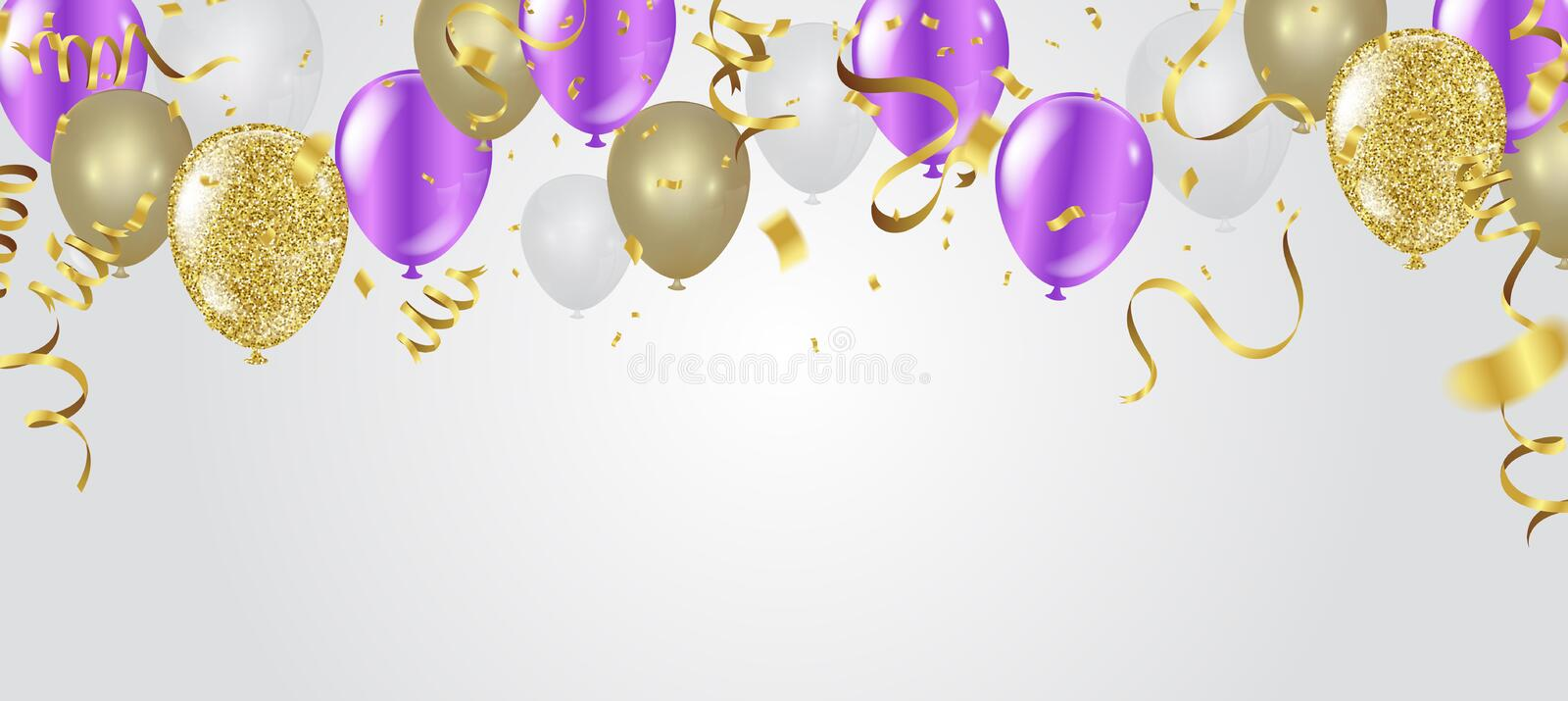 Color flying balloons isolated on . background with colorful balloons. celebration party print design royalty free illustration