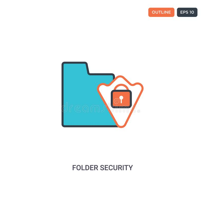 2 color Folder security concept line vector icon. isolated two colored Folder security outline icon with blue and red colors can royalty free illustration
