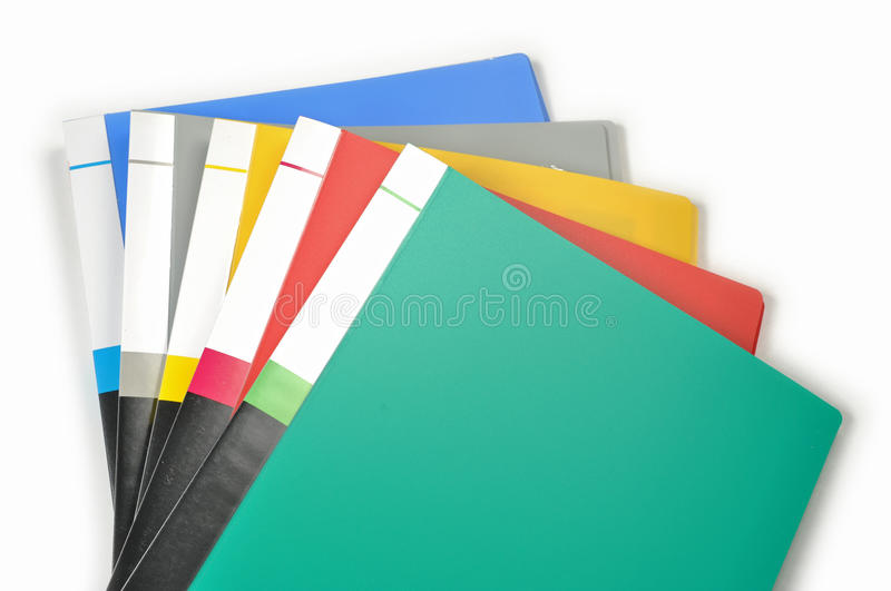 Color of folders. On white stock images