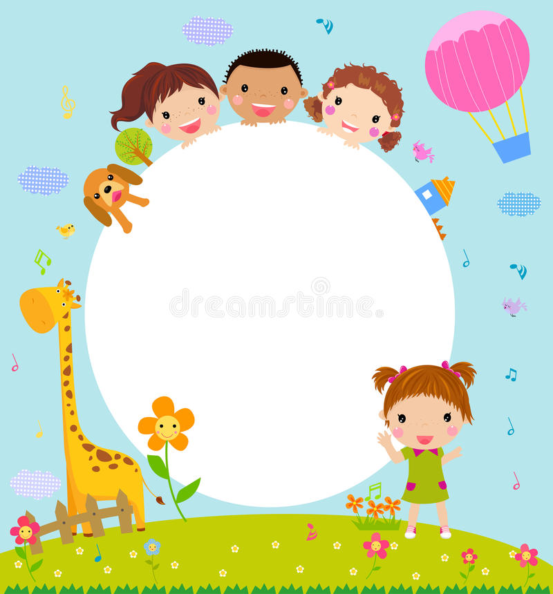 Color frame with group of kids and giraffe,background. vector illustration