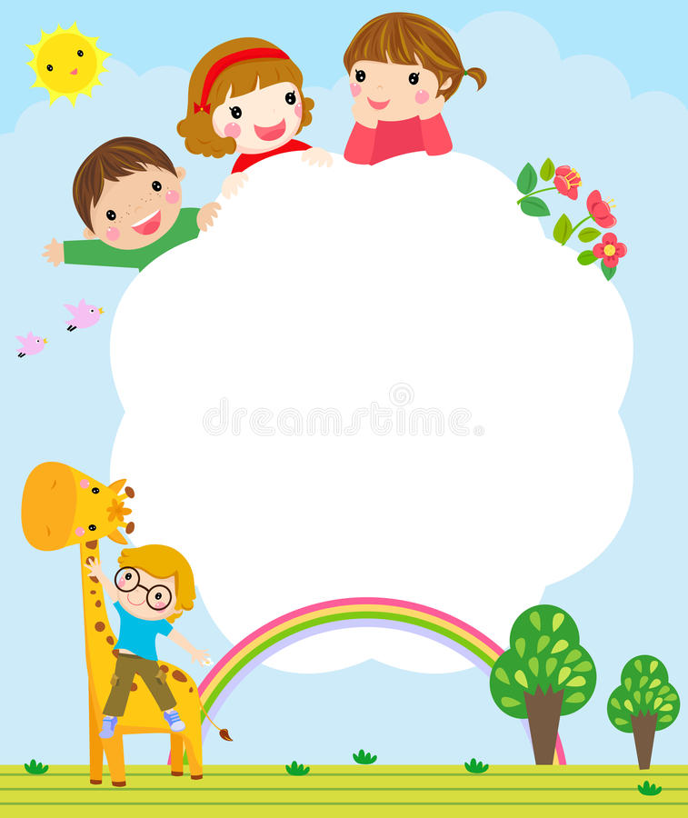 Color frame with group of kids and giraffe,background. stock illustration