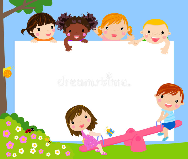 Color frame with group of kids vector illustration