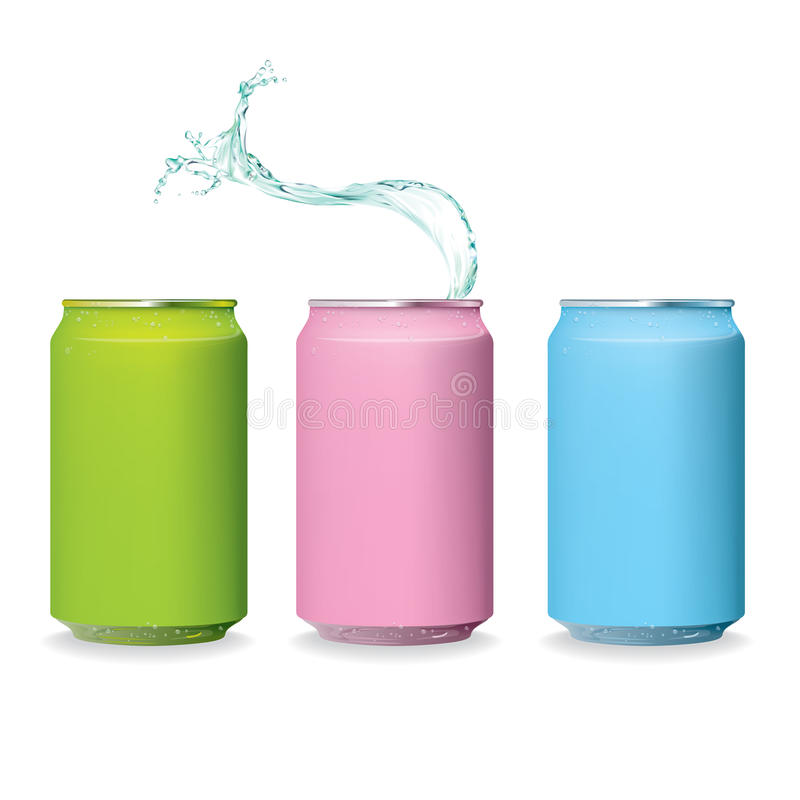 Download Color Fresh Can And Water Splash Isolate Stock Vector - Image: 24779364