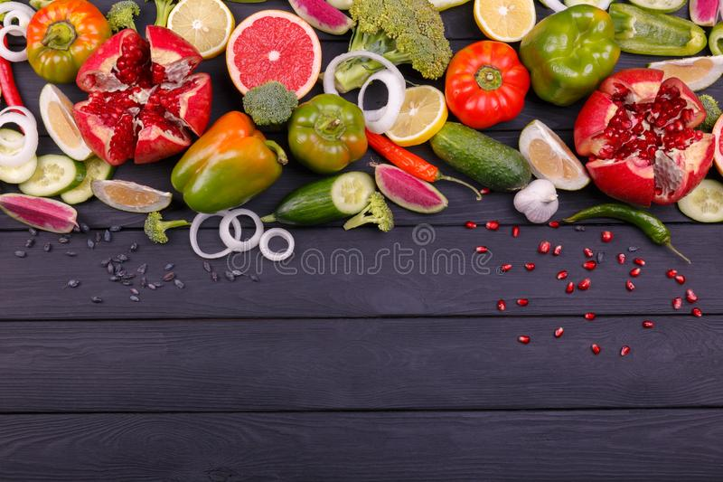 Color fruits and vegetables on white background. Fresh food. Collection stock photos