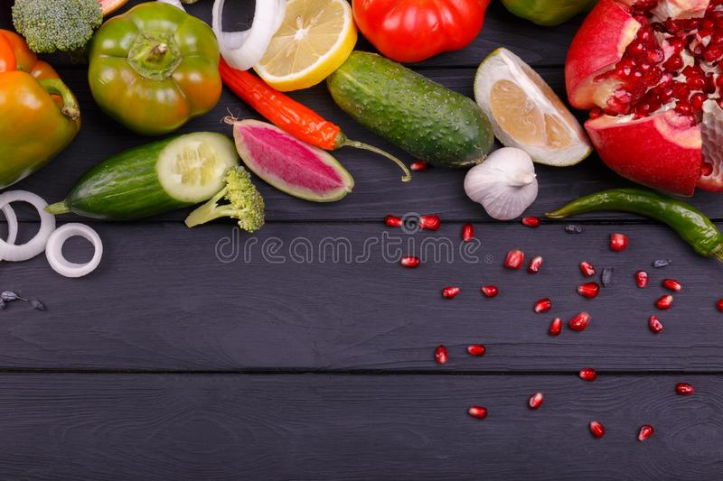 Color fruits and vegetables on white background. Fresh food. Collection royalty free stock images