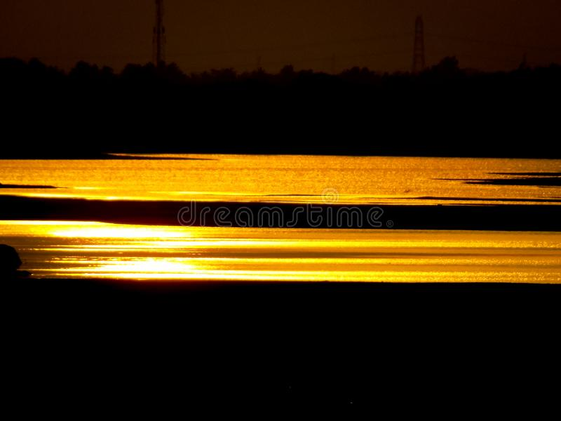 Sun set red light River royalty free stock images