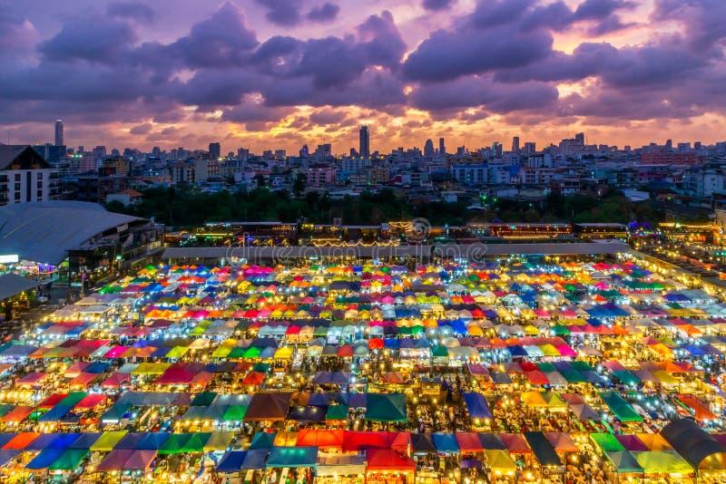 Color full of Train Night Market Ratchada, Bangkok Thailand. The famous Bangkok night Market. Coulour full Market. Night barzar royalty free stock photos