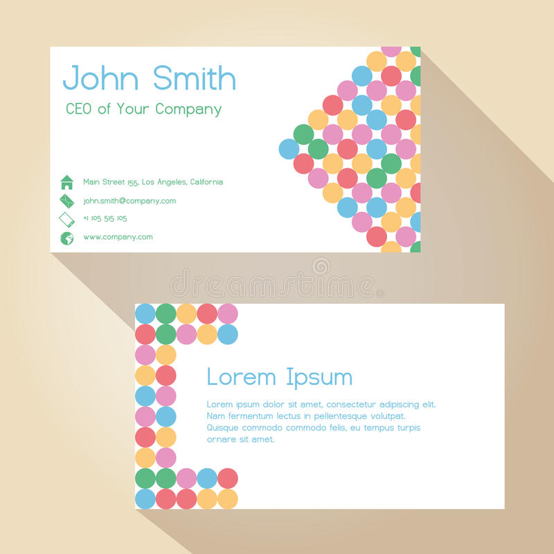 Download Color Funky Dotted White Simple Business Card Design Eps10 Stock Vector