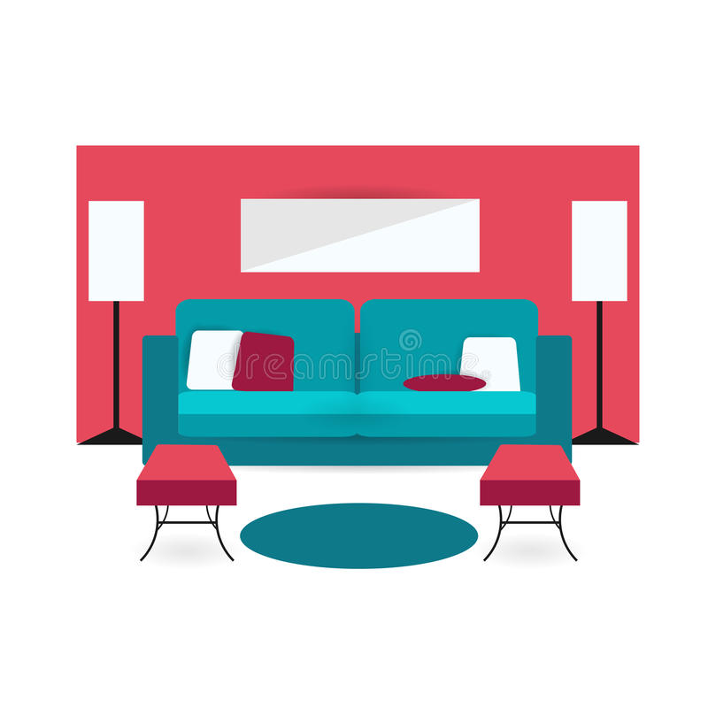Color Furniture Living Room Flat Icon Stock Vector