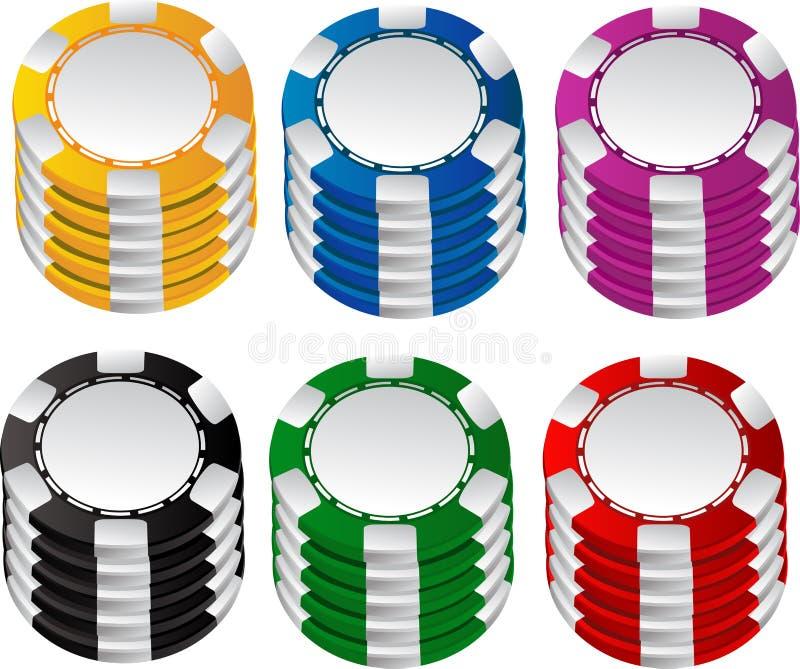 Color gambling chips set royalty free stock photos