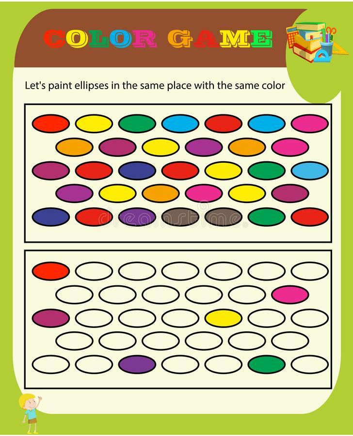 Color game Sudoku game with pictures for children, easy level, education game for kids, preschool worksheet activity, task for the royalty free illustration