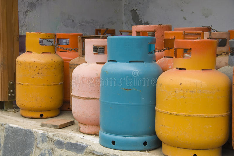 Color gas cylinders stock photo