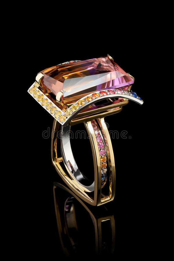 Color gems ring stock photo