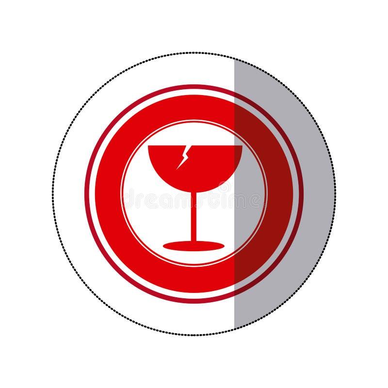Color glass broken emblem icon. Illustraction design image royalty free illustration