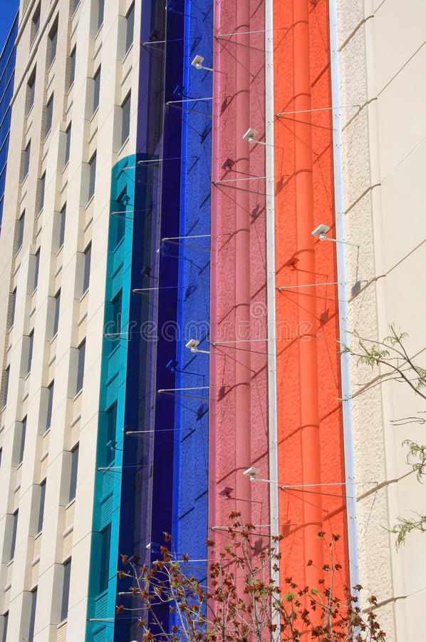 Color glass on the wall of building
