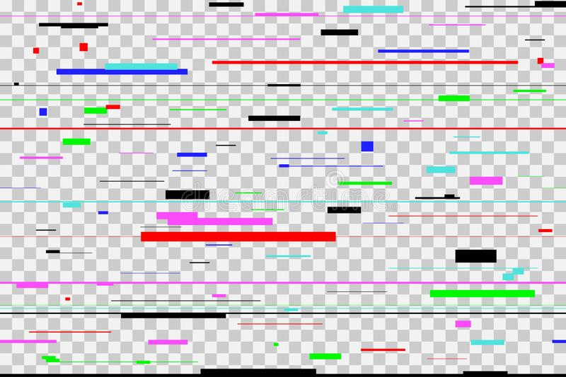 Color glitch background. Digital colorful pixel noise, isolated on transparent. Screen signal error. Vector. royalty free illustration