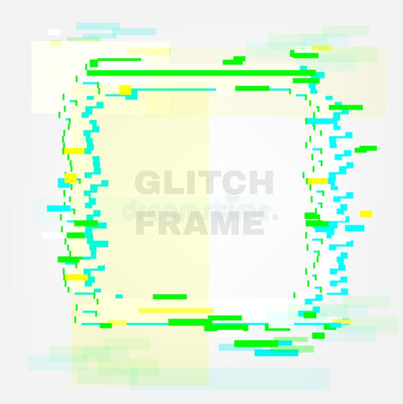 Color glitch frame. Distortion effects for advertising.  stock illustration