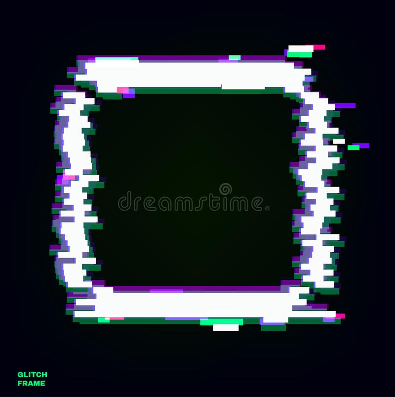 Color glitch frame. Distortion effects for advertising.  royalty free illustration