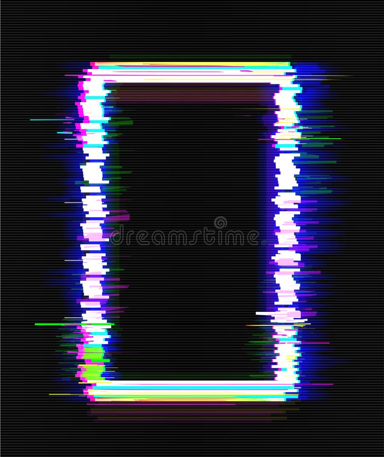 Color glitch frame. Distortion effects for advertising. Vector illustration.  stock illustration