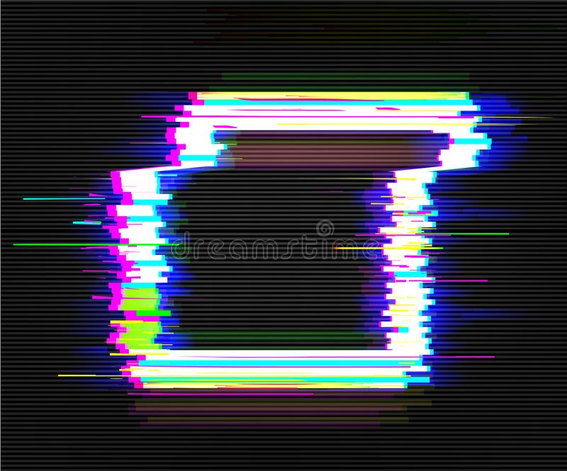 Color glitch frame. Distortion effects for advertising. Vector illustration.  royalty free illustration