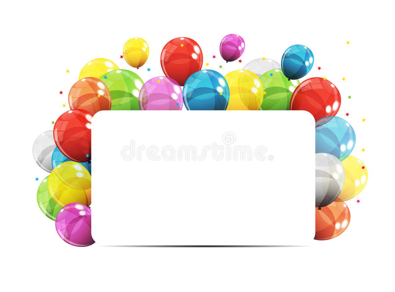 Color Glossy Balloons Birthday Background Vector Illustration royalty free illustration
