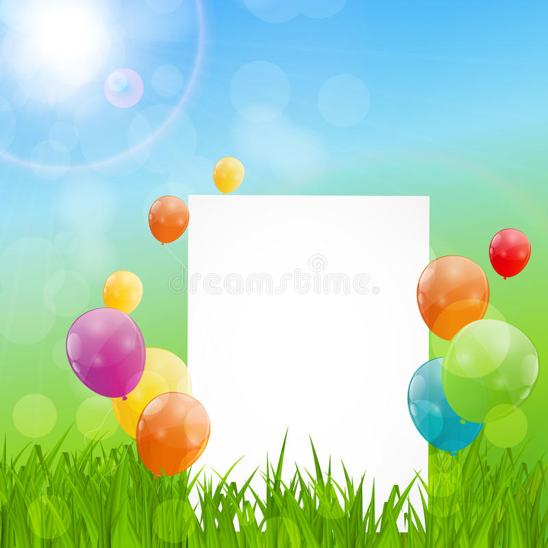 Color Glossy Balloons Birthday Card Background Vector Illustrat royalty free illustration