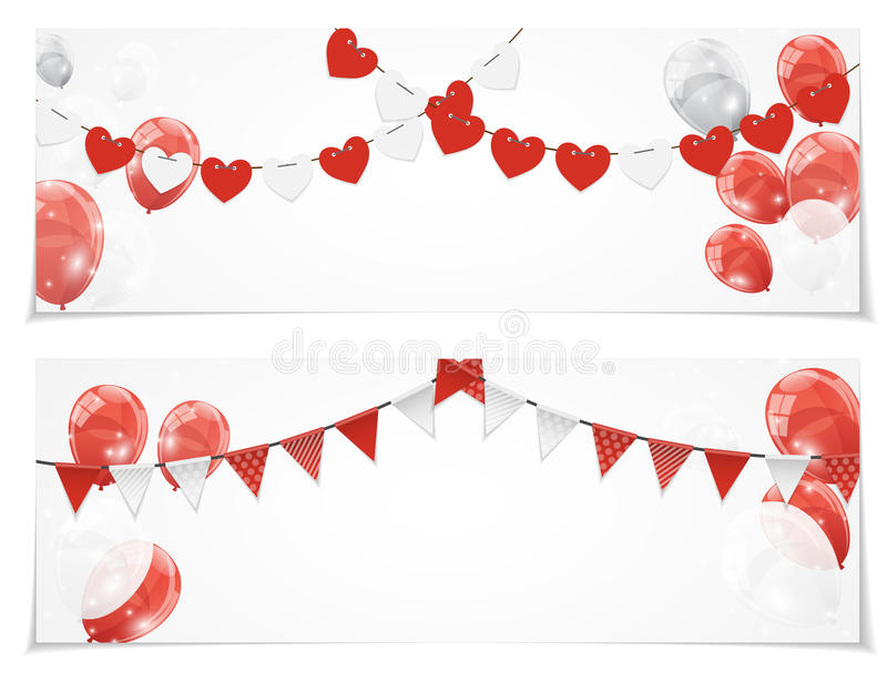 Color Glossy Balloons Card Set Background Vector Illustration. Eps10 stock illustration