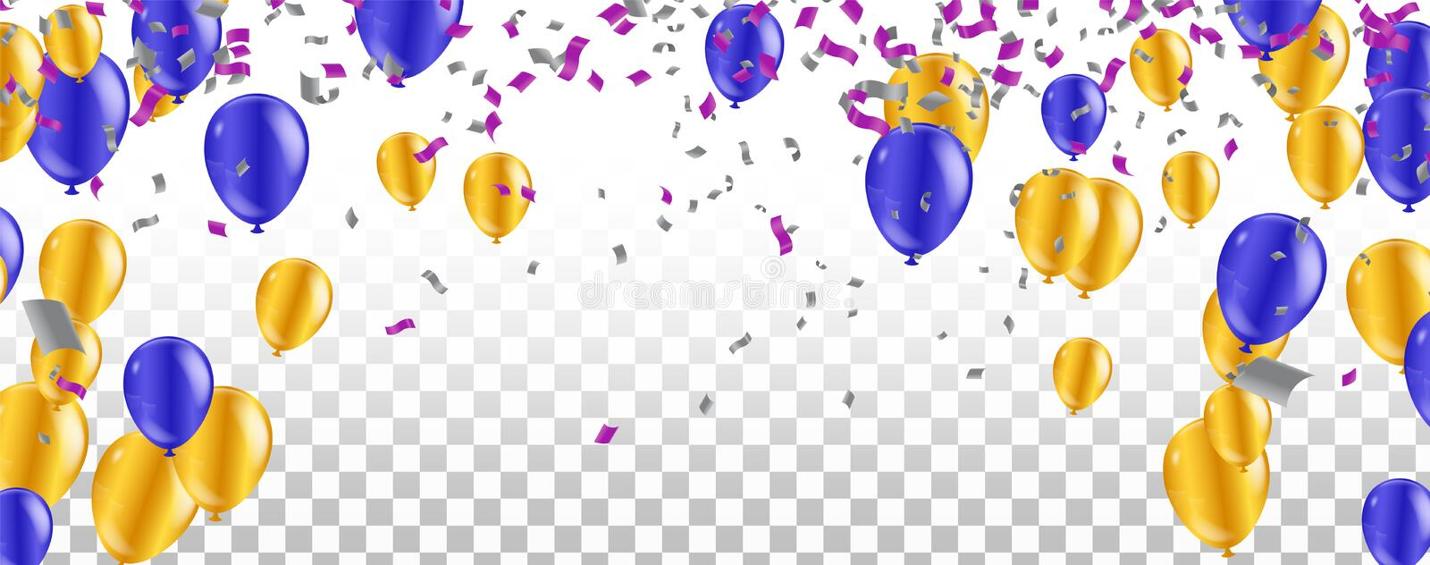 Color glossy balloons party confetti concept design template happy New Year 2020 background Celebration Vector illustration royalty free illustration
