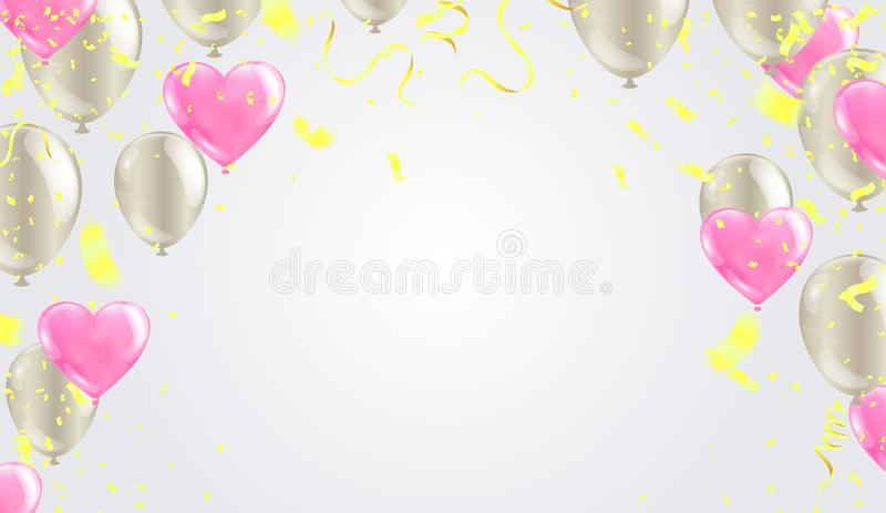 Celebration banner with green balloons background and Saint Patrick`s Day party royalty free illustration