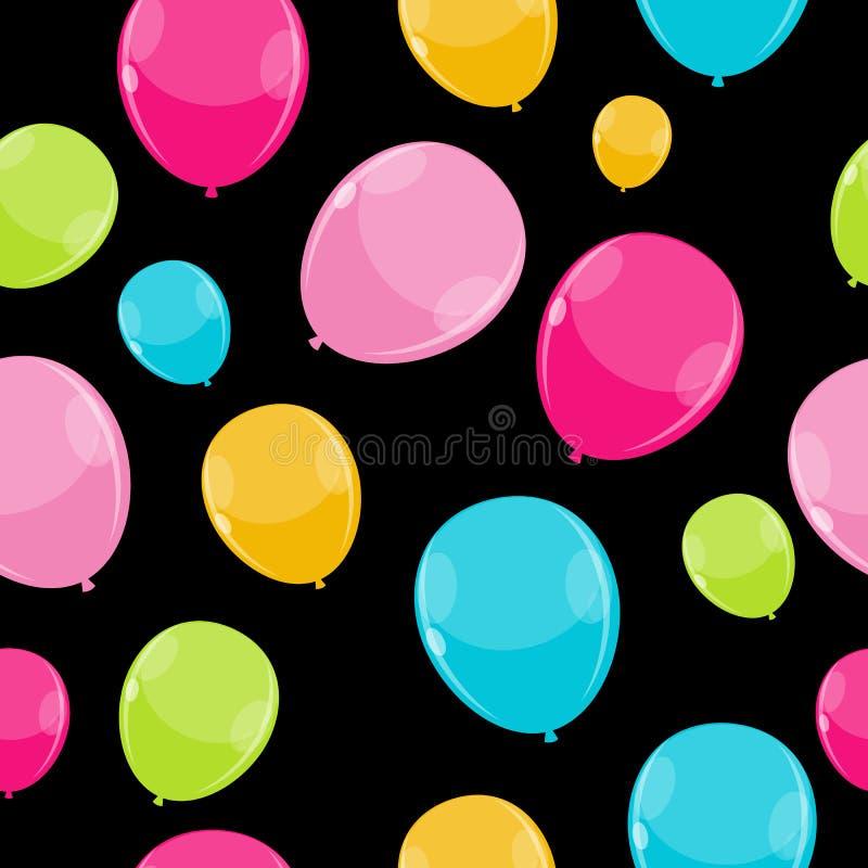 Color Glossy Balloons Seamles Pattern Background vektor illustrationer