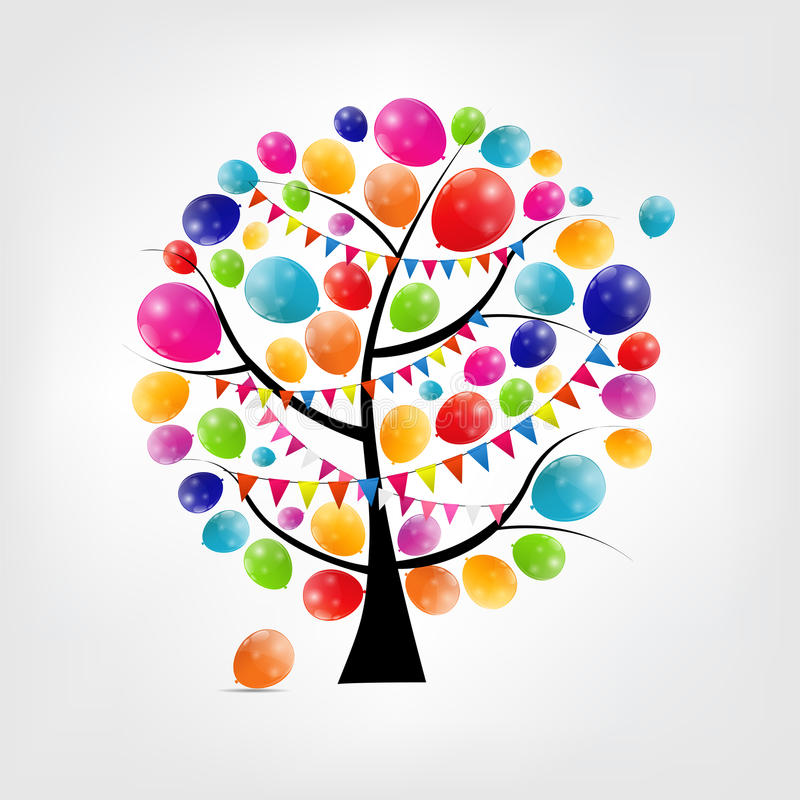 Color glossy balloons tree background vector stock illustration