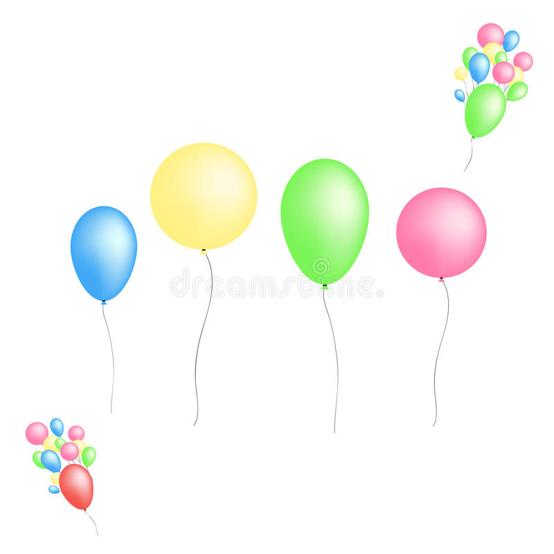 Color glossy balloons on white background stock illustration