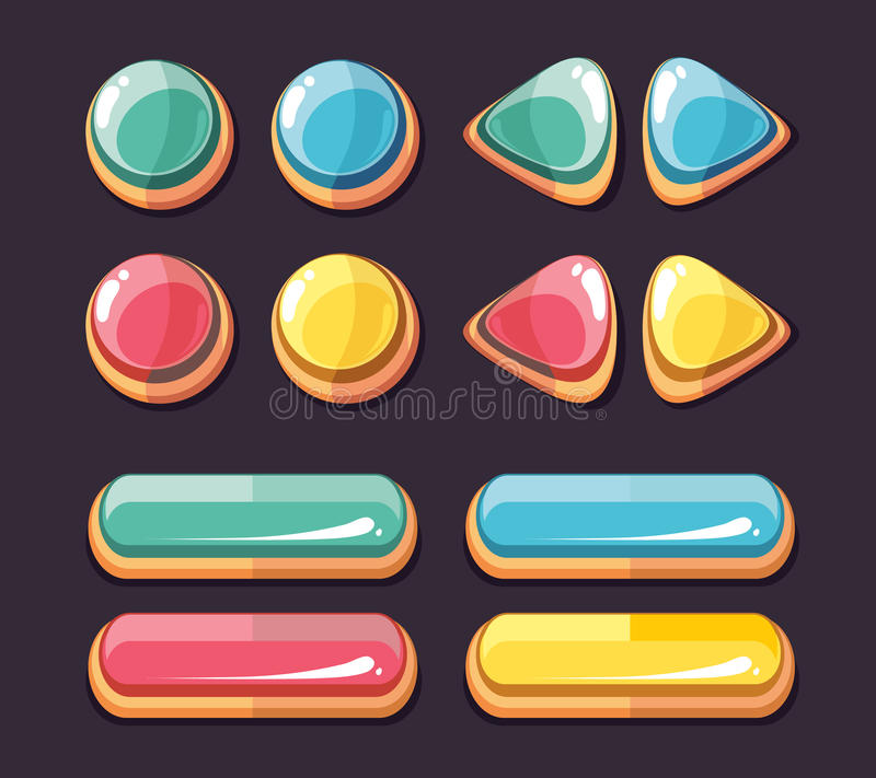 Color glossy buttons vector set for computer games user interface. Color glossy buttons round and rectangle. Set of icons for computer games user interface stock illustration