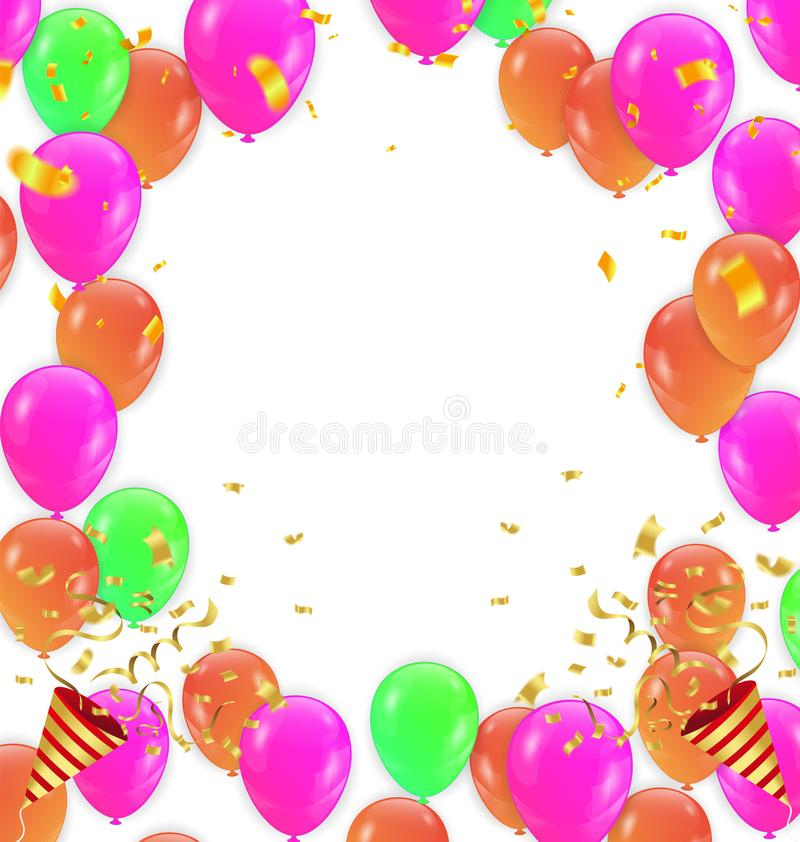 Color Glossy Happy Birthday Balloons Banner Background Vector Il royalty free illustration