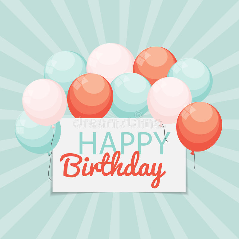 Color Glossy Happy Birthday Balloons Banner Background Vector Il vector illustration