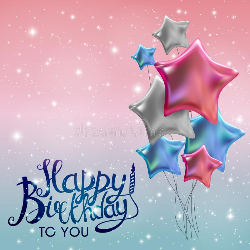 Color Glossy Happy Birthday Balloons Banner Background Vector Illustration stock illustration