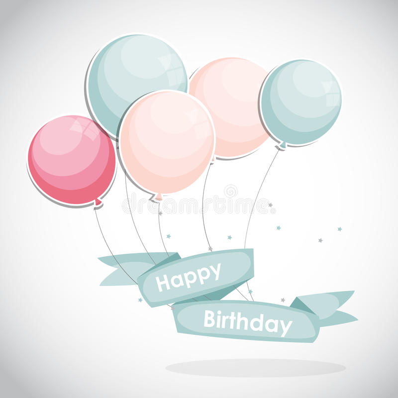 Color Glossy Happy Birthday Balloons Banner Background Vector. Illustration EPS10 vector illustration