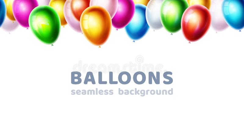 Color glossy vector balloons isolated on white background. Birthday party, event celebration banner. Decoration stock illustration