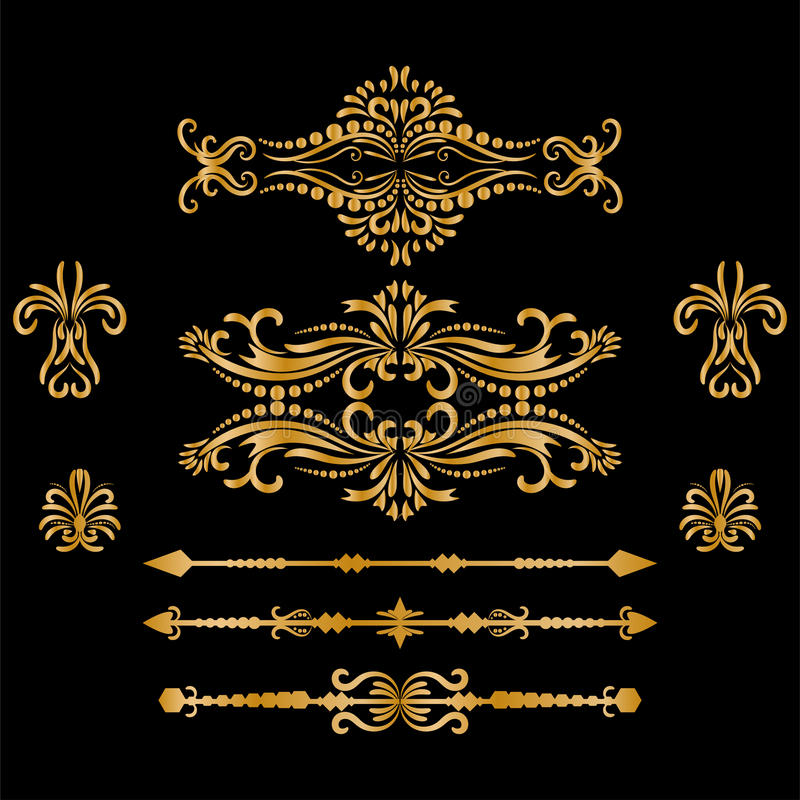 Color Gold Vintage Decorations Elements. Flourishes Calligraphic Ornaments and Frames. retro Style Design Collection vector illustration