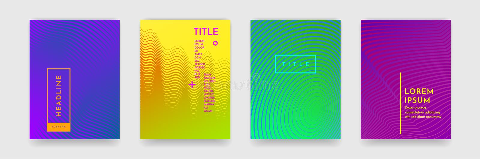 Color gradient abstract geometric pattern texture for book cover template vector set vector illustration