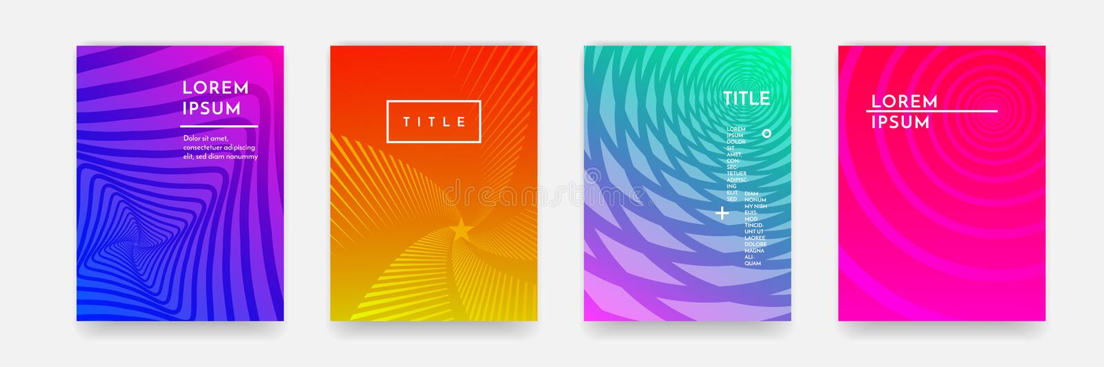 Color gradient abstract geometric pattern texture for book cover template vector set royalty free illustration