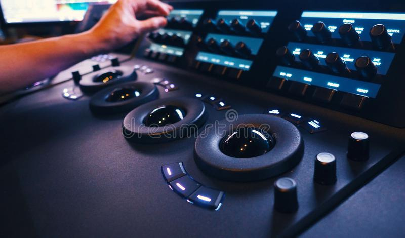 Color grading controller machine in telecine lab. Color grading controller machine in telecine room studio lab for edit video colortone online process royalty free stock images