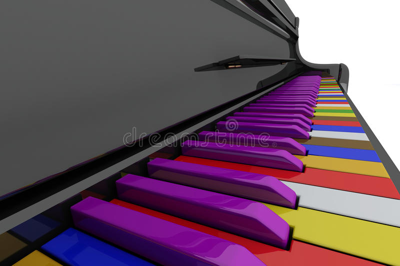 Color grand piano keys. Close up view royalty free illustration