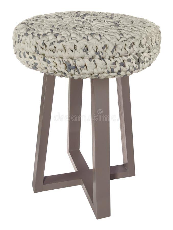 Color gris de madera del taburete hecho a mano Asiento redondo con blanco y gris imagen de archivo