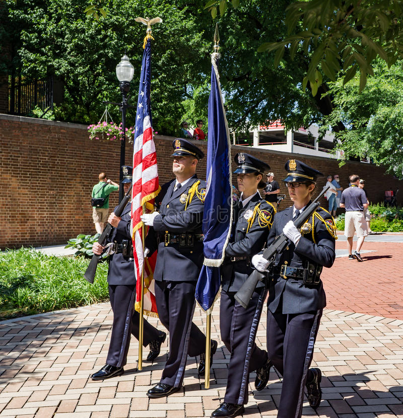 Color Guard at the Local Colors Festival. Roanoke, VA – May 20th: Color Guard leading the Presentation of Nations Parade at the annual Local Colors stock images