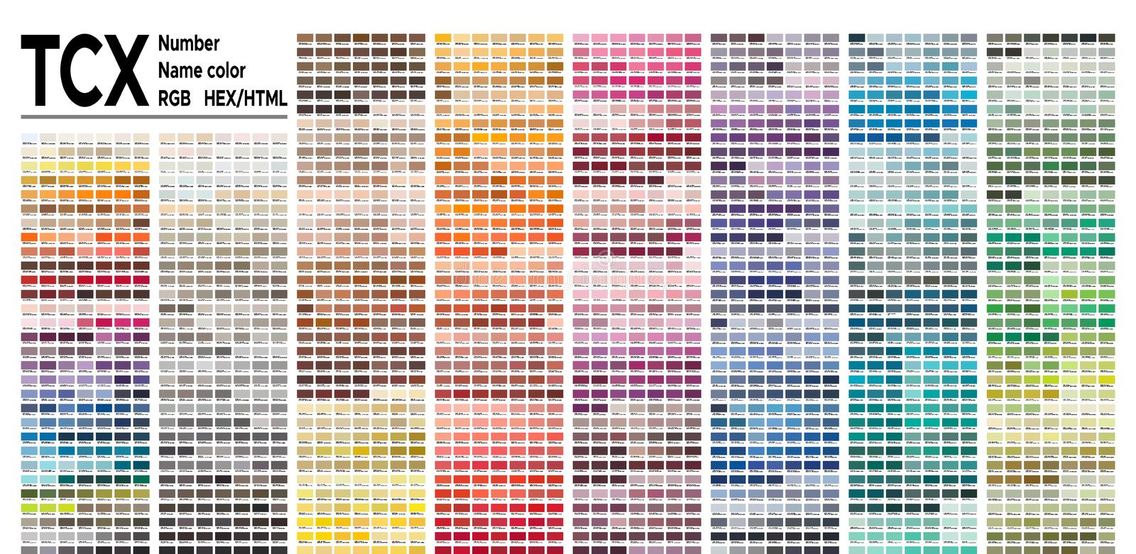 Color table Pantone FHI system. Vector color palette with number, named color swatches, chart conform to pantone RGB, HTML and HEX. Color Guide of the Fashion