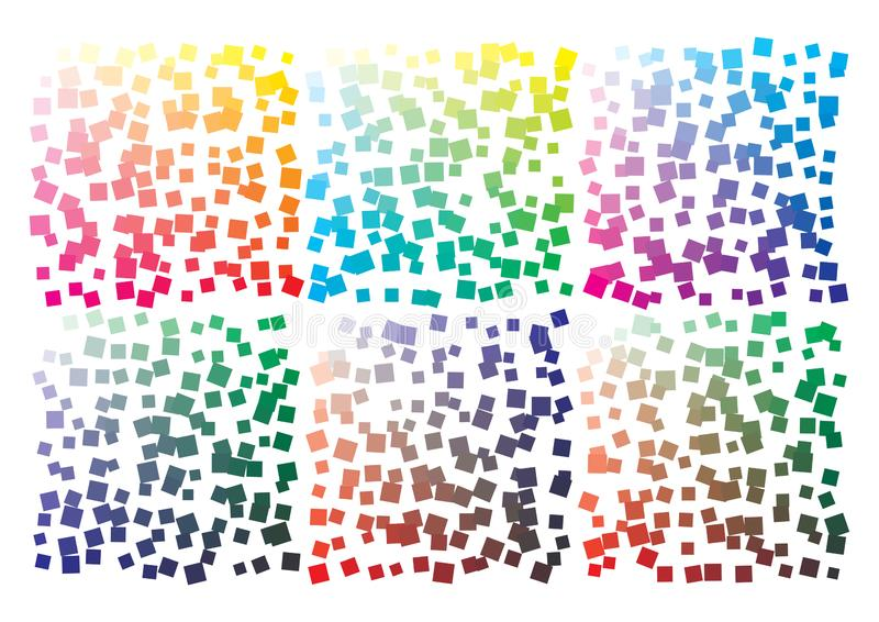 Vector color palette on A4 format. Details chaotically scattered royalty free illustration